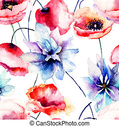 Seamless pattern with original flowers, watercolor...