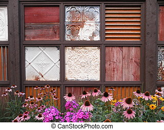 Rustic fence with flowers - beautiful rustic fence in the...