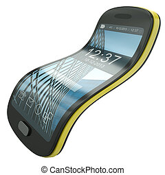Flexible smartphone, concept illustration. The screen layout...