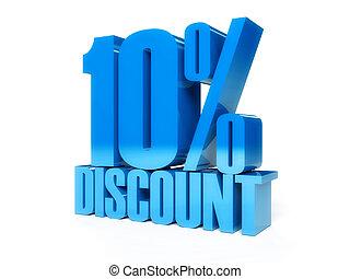 10 percent discount Blue shiny text Concept 3D illustration...