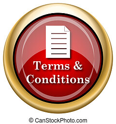 Terms and conditions icon - Shiny glossy icon with white...