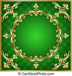 green background a frame with a gold ornament - illustration...
