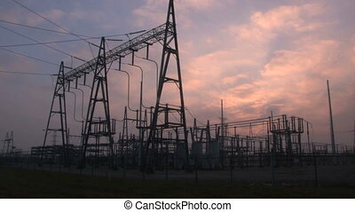 Power Substation Time Lapse - Time lapse of the sun setting...