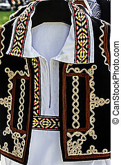 Traditional Romanian folk costume.Detail 36 - Old...