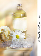 Linen water on towel - Bottle of linen water with towels and...