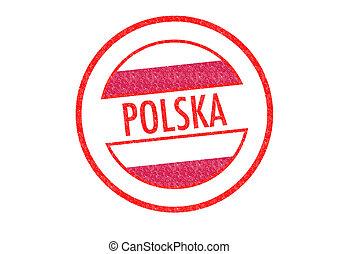 POLSKA - Passport-style POLSKA rubber stamp over a white...