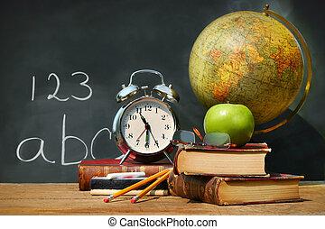 oud, school, boekjes