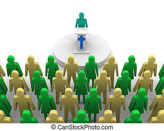 sermón, iglesia, pastor, predicador, concepto, 3D,...
