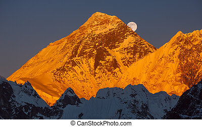 Gold pyramid of Mount Everest 8848 m at sunset Ascending...