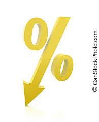 Golden percentage symbol with an arrow down. Concept 3D illustration.