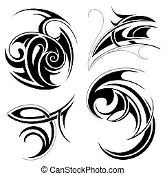 Tribal art set - Vector illustration with set of tribal art...
