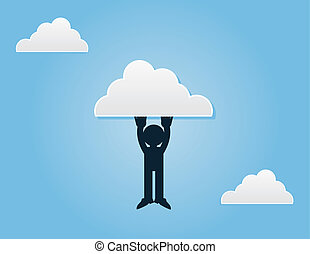 Figure Hanging From Cloud - Silhouette figure hanging from a...
