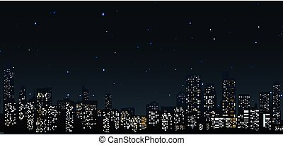 City skylines at night urban scene - Vector Illustration of...