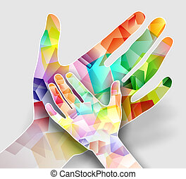 abstract and colorful illustration of two hands
