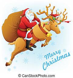 Santa on reindeer with Christmas gift
