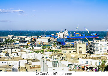 View from the heights over the port of Sousse Tunisia - View...
