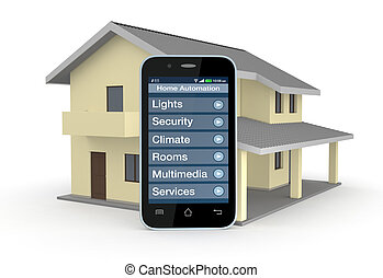 home automation - one house and smartphone with a software...