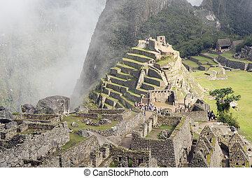 Machu Picchu - Lost city of the Incas located near Cusco,...