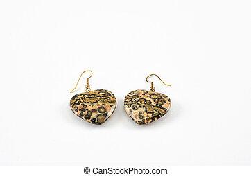 Leopardo,  Earings, jaspe, piel