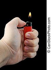 Fire Lighter - Hand Holding Fire Lighter