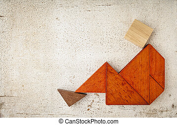 tangram sitting figure - abstract sitting or relaxing figure...