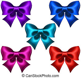 Silk colored bows - Vector illustration - collection of silk...