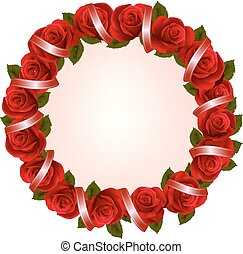 Holiday background with colorful flowers and red ribbons. Vector illustration.