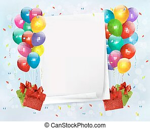Holiday background with colorful balloons and gift boxes. Vector illustration.