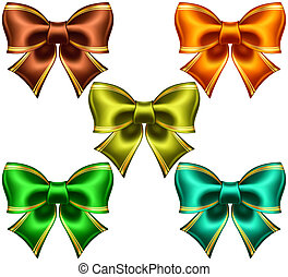Festive bows with golden edging - Vector illustration -...