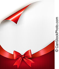 Holiday background with gift glossy bow and ribbon. Vector