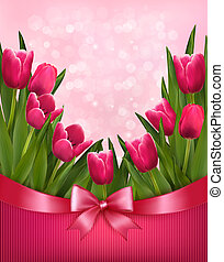 Holiday background with bouquet of pink flowers with bow and...