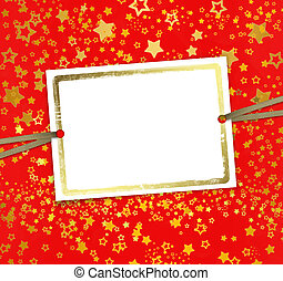Greeting card with frame on a beautiful background with gold stars