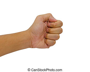Man hand fist isolated on white background