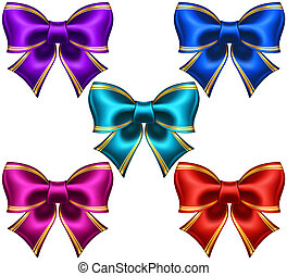 Set of festive bows with golden edging