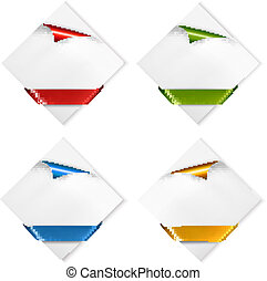 Collection of cardboard paper banners with color ribbons. Vector