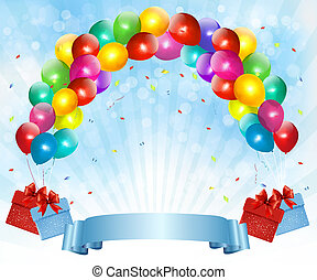 Holiday background with colorful balloons and gift boxes. Vector illustration
