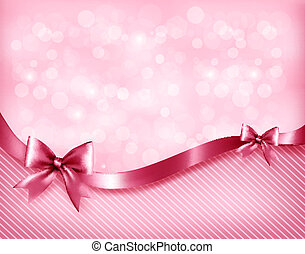 Holiday pink background with gift glossy bows and ribbon....