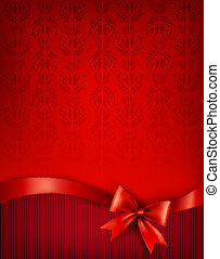 Holiday background with gift glossy bow and ribbon. Vector...