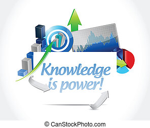business knowledge is power concept illustration design over...