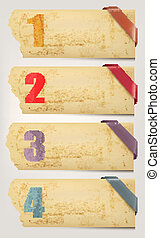 Set of retro cardboard paper banners with color ribbon tags....