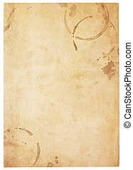 Very Old Blank Paper With Coffee Stains - Aging, worn paper...