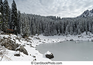 Snow forest - Carezza Lake Karersee surrounded by pine trees...