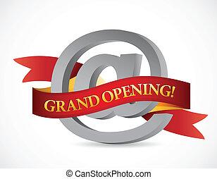 website grand opening banner illustration design over white