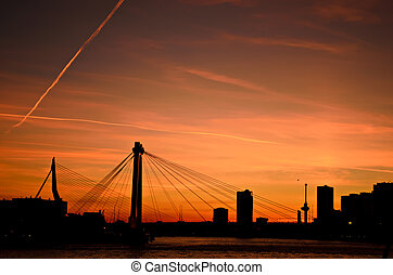 Rotterdam city sunset skyline - The skyline of the city of...