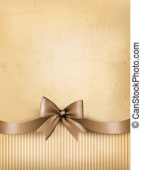 Retro background with old paper and gift bow and ribbon. Vector
