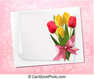 Holiday background with sheet of paper and colorful flowers. Vector