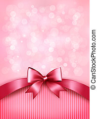 Holiday pink background with gift glossy bow and ribbon. Vector.