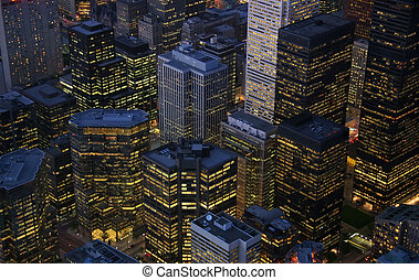 Toronto Buildings - A nightime view of illuminated...