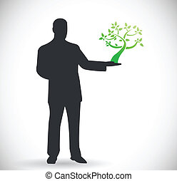 person holding a tree. natural eco concept