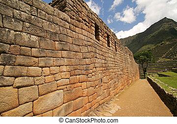 Machu Picchu Wall - The Artisians Wall at the Incan ruins of...